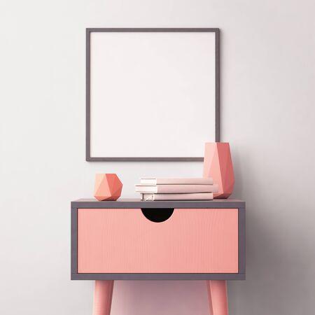モックアップ ポスター インテリアの流行色のテーブル。3 d