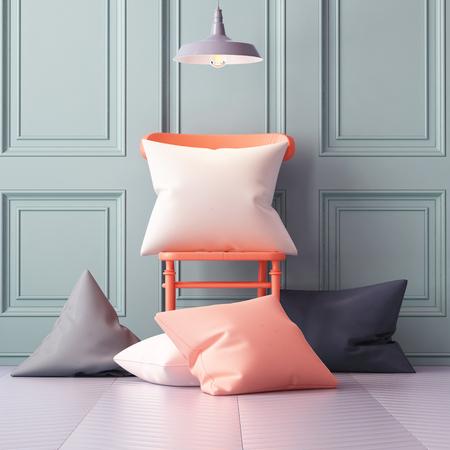 Mockup pillows in the interior. 3d Archivio Fotografico