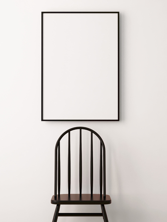 twigs: mockup poster in the interior in a black frame on a white background with a chair. 3d