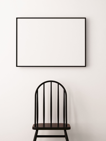 mockup poster in the interior in a black frame on a white background with a chair. 3d