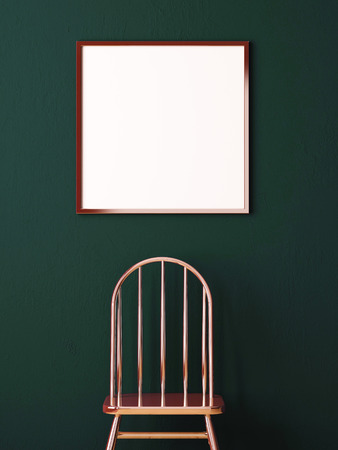 white canvas: Mockup poster in the interior of a dark background with a copper chair. 3d