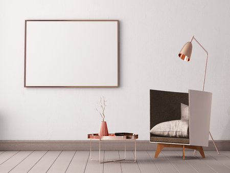 mock up poster in the interior of a living room with armchairs and lamps. 3d illustration 3d render. Banque d'images