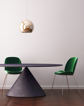 Interior art deco with a table and lamp. 3d rendering, 3d illustration
