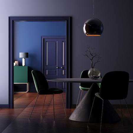 インテリア アールデコ テーブル ランプ付き。3 d レンダリング、3 d イラストレーション 写真素材