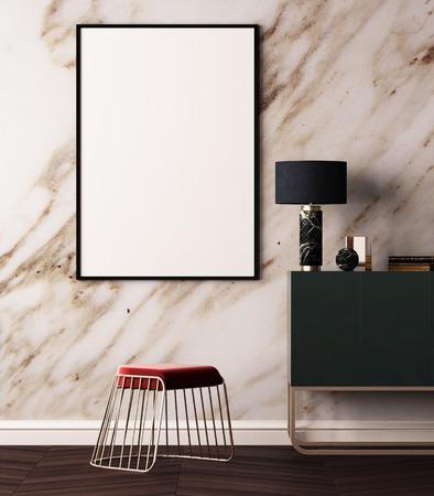 大理石の壁と室内でのポスターのモックアップします。スタイル ardeco。3 d 写真素材