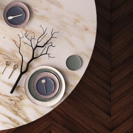 大理石で作られたダイニング テーブルの上のモックアップのポスター。上からの眺め。3 d