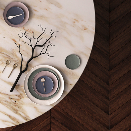 Mockup poster on a dining table made of marble. View from above. 3d Banque d'images