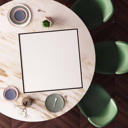 modern living room: Mockup poster on a dining table made of marble. View from above. 3d Stock Photo