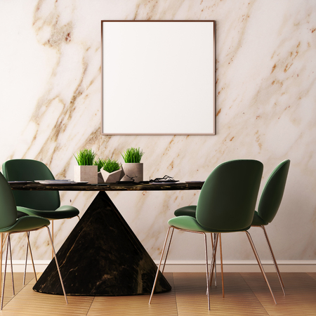 Mock up poster in the interior of the dining room with a dining table. Style ardeco. 3d Archivio Fotografico