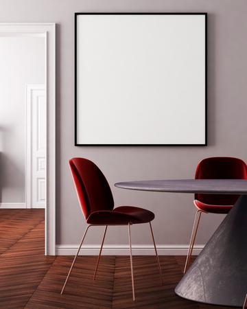 Interieur art deco met een tafel en een lamp. 3D-rendering, 3D-afbeelding