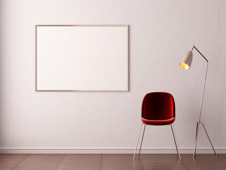 Mockup Poster in art deco style interior. 3d render. 3d illustration. Banque d'images