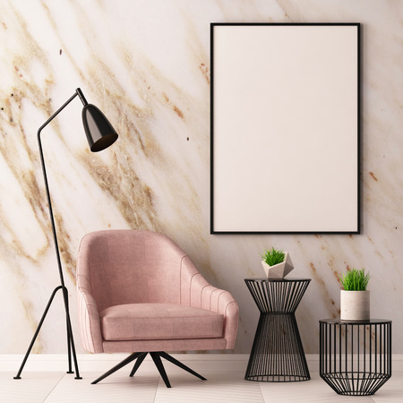 Mock up poster in the interior with an armchair and a table on the background of a marble wall, 3d render, 3d illustration.