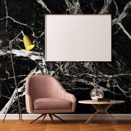 living room wall: Mock up poster in the interior with an armchair and a table on the background of a marble wall, 3d render, 3d illustration.