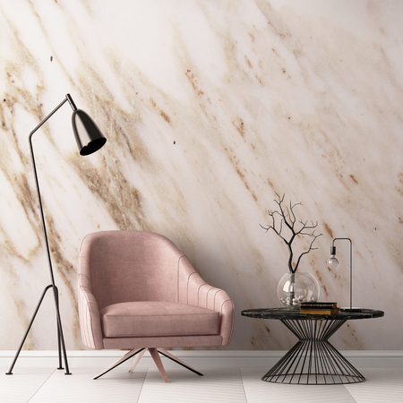 Interior with armchair and a table on a background of a marble wall, 3d render, 3d illustration