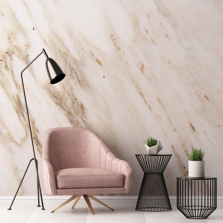 Innenraum mit Sessel und ein Tisch auf einem Hintergrund einer Marmor Wand, 3d render, 3d illustration Standard-Bild - 75915062