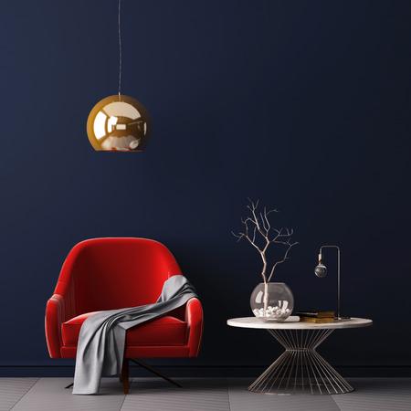インテリア肘掛け椅子と小さなテーブルを空の壁の背景、3 D レンダリング、3 d イラストレーション。