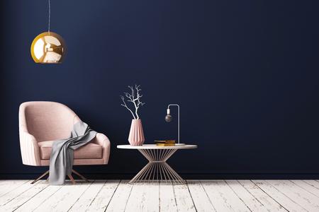 Interior con un sillón y una pequeña mesa sobre un fondo de una pared vacía, 3d rinden, ilustración 3d.