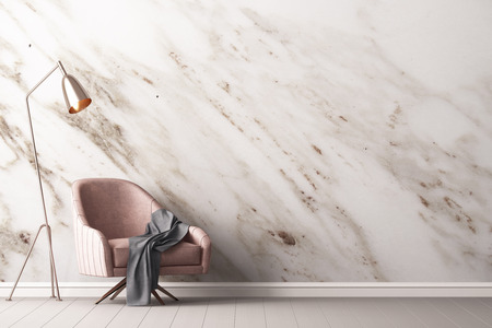 Innenraum mit Sessel und ein Tisch auf einem Hintergrund einer Marmor Wand, 3d render, 3d illustration Standard-Bild - 76462819