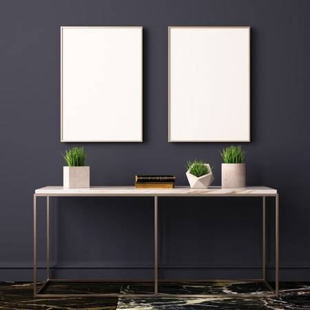 Mock up poster in the interior with a console table. 3D rendering