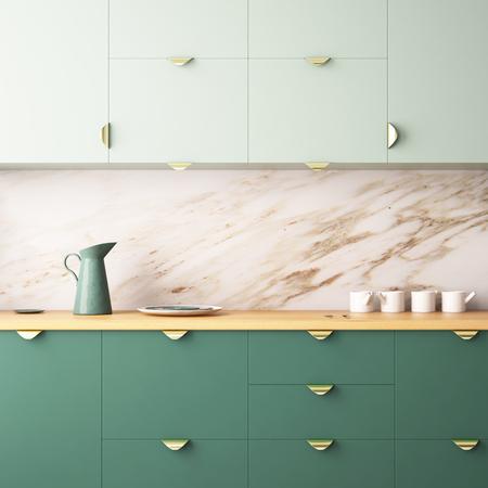 流行に敏感なスタイルでキッチンのフレームにポスターを模擬します。3 d レンダリング。