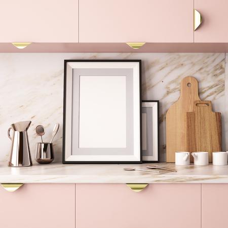 Mock up ein Poster in einem Rahmen in der Küche in einem Hipster-Stil. 3D-Rendering Standard-Bild - 78153918
