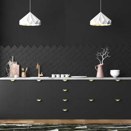 Mockup interior kitchen in loft style. 3d rendering. 3d illustration. Standard-Bild