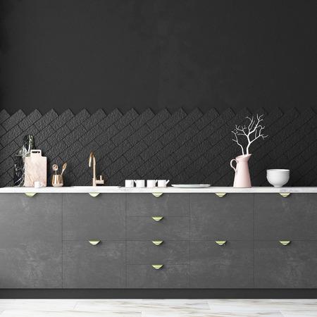 Mockup interieur keuken in loft stijl. 3D-weergave. 3d illustratie. Stockfoto