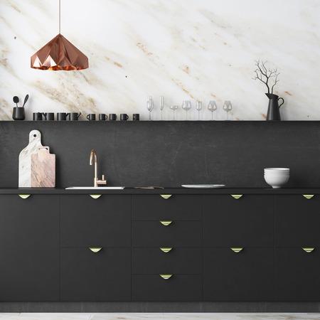 Mockup Innenküche im Loft-Stil. Wiedergabe 3d. 3D-Darstellung. Standard-Bild - 87129148