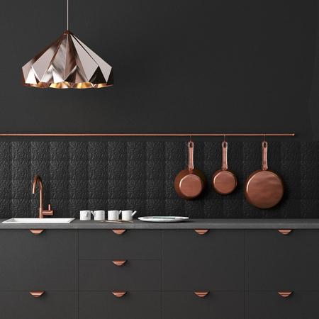 Mockup cocina interior en estilo loft. Representación 3D. Ilustración 3d. Foto de archivo - 87129150