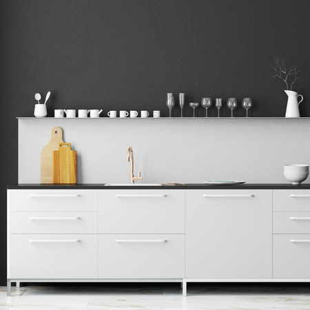 Mockup interior kitchen in loft style. 3d rendering. 3d illustration. Stock fotó