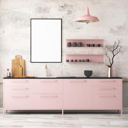 Mockup Innenküche im Loft-Stil. Wiedergabe 3d. 3D-Darstellung. Standard-Bild - 87129171