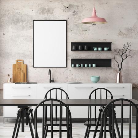 Mockup cocina interior en estilo loft. Representación 3D. Ilustración 3d. Foto de archivo - 87129177