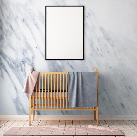 Simulacros de póster en la habitación de los niños. Habitación para niños en estilo escandinavo. Ilustración 3d. Foto de archivo - 87129179