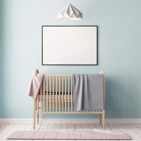 パステルカラーの子供の寝室でポスターをモックアップ。スカンジナビアスタイル。3d レンダリング。 写真素材