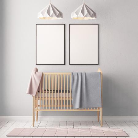Simulacros de póster en la habitación de los niños. Habitación para niños en estilo escandinavo. Ilustración 3d. Foto de archivo - 87129191