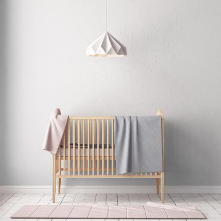 Chambre d'enfants de style scandinave. Illustration 3D.