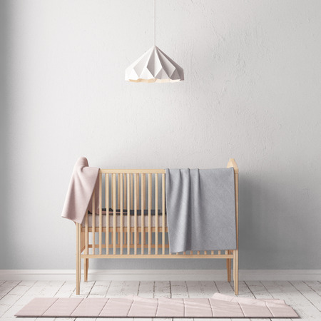 Children's room in Scandinavian style. 3d illustration.