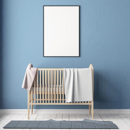 Simulacros de póster en la habitación de los niños. Habitación para niños en estilo escandinavo. Ilustración 3d. Foto de archivo - 87129194