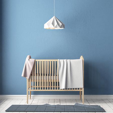 Habitación para niños en estilo escandinavo. Ilustración 3d. Foto de archivo - 87129197