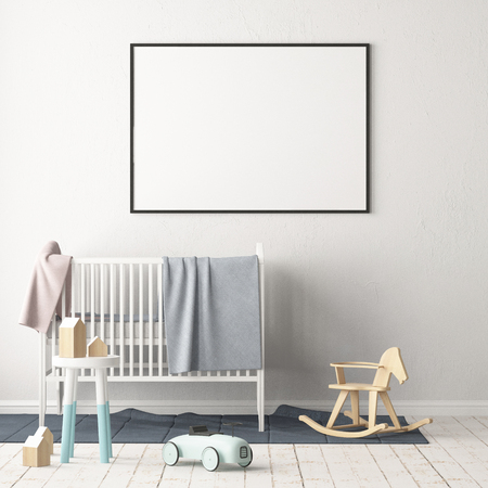 Mock-up-Poster im Kinderzimmer. Kinderzimmer im skandinavischen Stil. 3D-Darstellung. Standard-Bild - 87129207