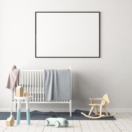 Mock up poster in de kinderkamer. Kinderkamer in Scandinavische stijl. 3d illustratie.