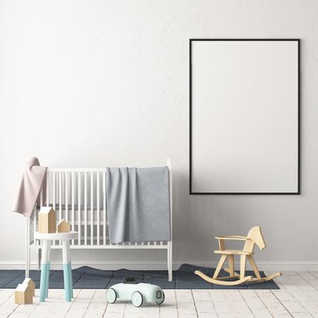 Mock up poster in the children's room. Children's room in Scandinavian style. 3d illustration. Stock Photo