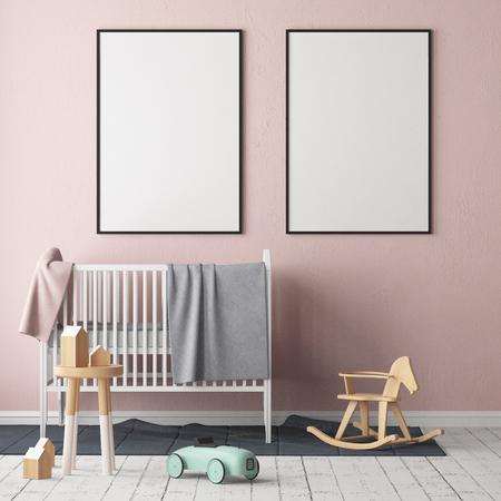 Simulacros de póster en la habitación de los niños. Habitación para niños en estilo escandinavo. Ilustración 3d.