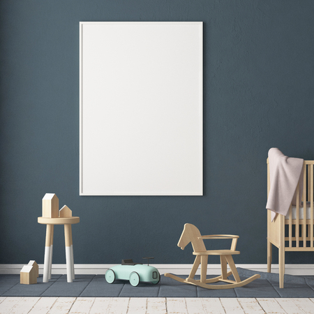 Mock up poster in the children's room. Children's room in Scandinavian style. 3d illustration. Stok Fotoğraf