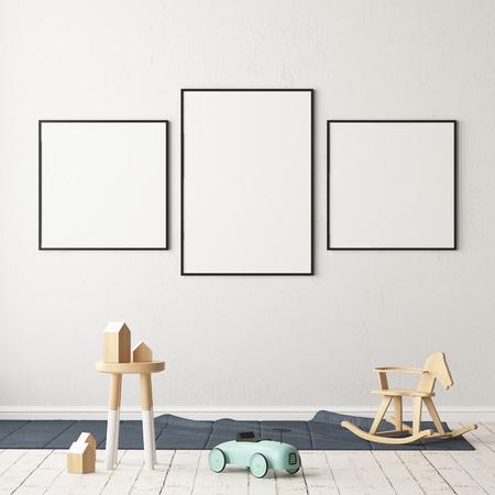 Mock up poster in the children's room. Children's room in Scandinavian style. 3d illustration. Standard-Bild