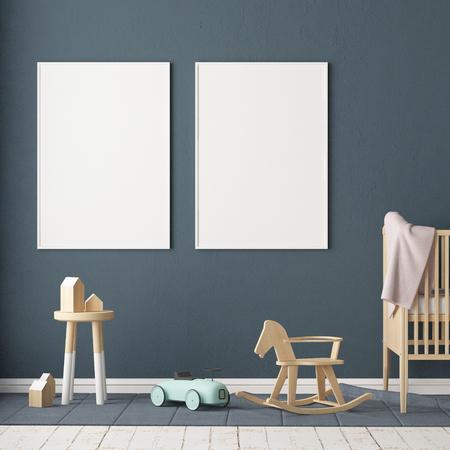 Mock-up-Poster im Kinderzimmer. Kinderzimmer im skandinavischen Stil. 3D-Darstellung. Standard-Bild - 87129224