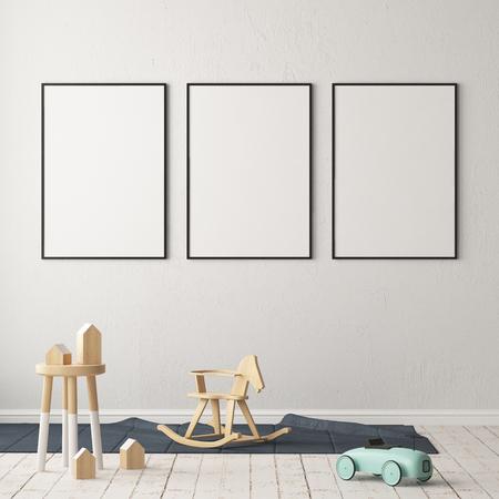 아이 방에 포스터를 올려 놓으십시오. 스칸디나비아 스타일의 어린이 방. 3d 일러스트 레이 션.