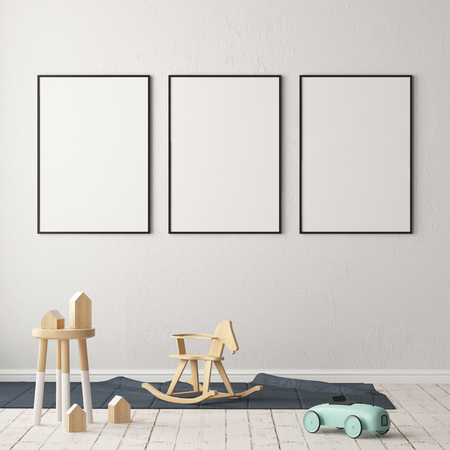 Mock up poster in the children's room. Children's room in Scandinavian style. 3d illustration. 스톡 콘텐츠