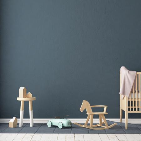 스칸디나비아 스타일의 어린이 방. 3d 일러스트 레이 션.