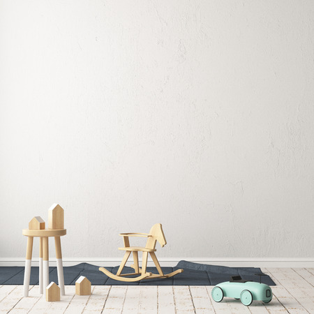 Children's room in Scandinavian style. 3d illustration.